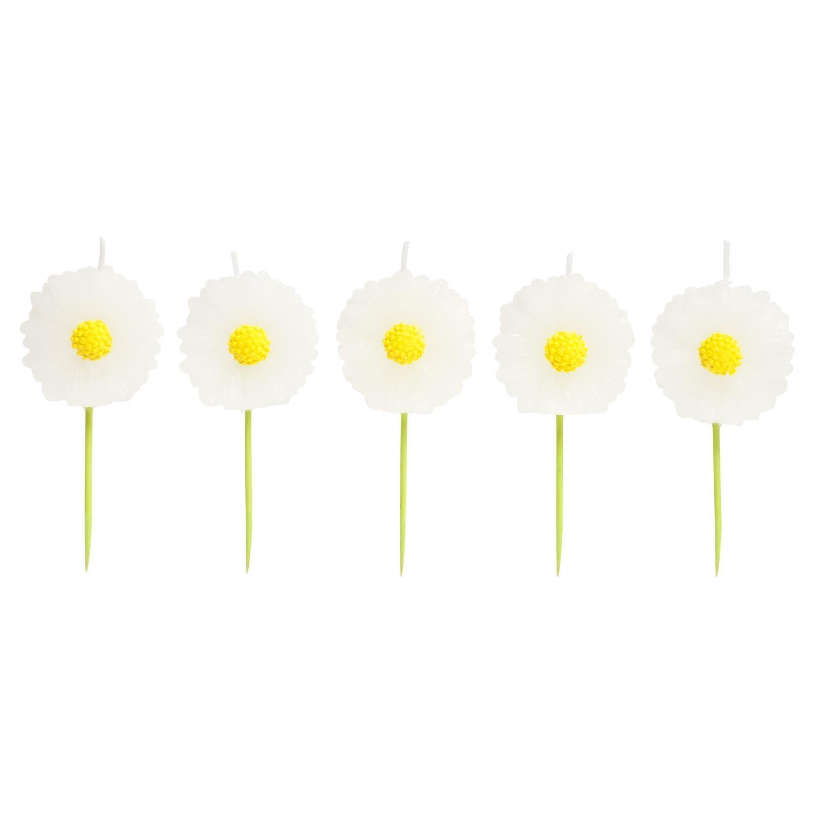 SunnyLIFE Themed Cake Candles in Animal, Plant, and Food Shapes, Set of 5 - Daisy White