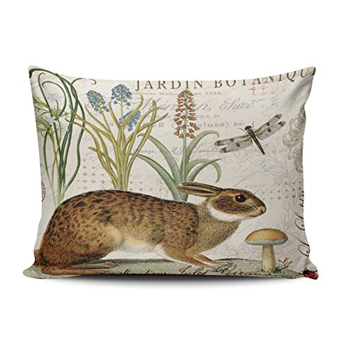(WULIHUA Throw Pillow Covers Modern Vintage French Rabbit in The Garden Boudoir Outdoor Cushion Cover Pillowcase Size 12x18 Inch One Sided Printed Chic Fashion Design)