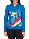 Tipsy Elves Women's Downhill Demon Half Zip Ski Sweater - Cute Blue Apres Ski Sweater … (X-Large)