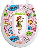 RNK Shops Woman Superhero Toilet Seat Decal - Round (Personalized)