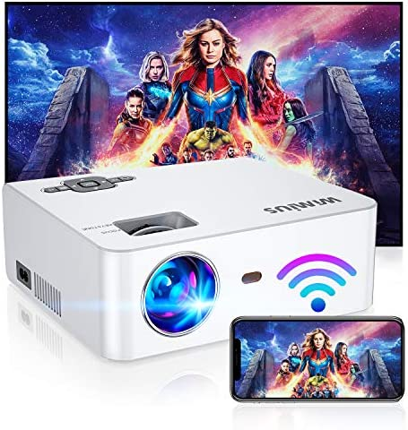 "WiFi Projector, New WiMiUS S2 Portable Mini Projector w/ 6000 Brightness High Contrast Lumens & 5W HiFi Speaker, Support 1080P and 250"" Screen, Compatible w/ Laptop, iPhone, Android, Fire TV Stick"