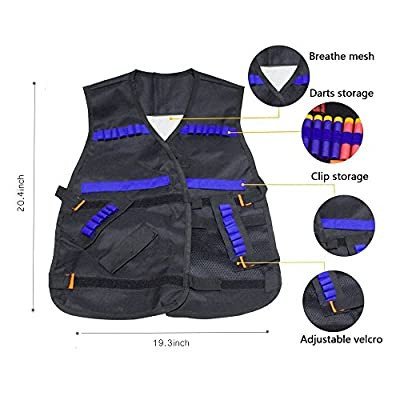KepooMan Kids Tactical Vest Kit for Nerf Guns N-Strike Elite Series with Tactical Waist Bag & 40 Refill Darts & 2 Reload Clips & 1 Face Tube Mask & 1 Protective Glasses & 1 Hand Wrist Band
