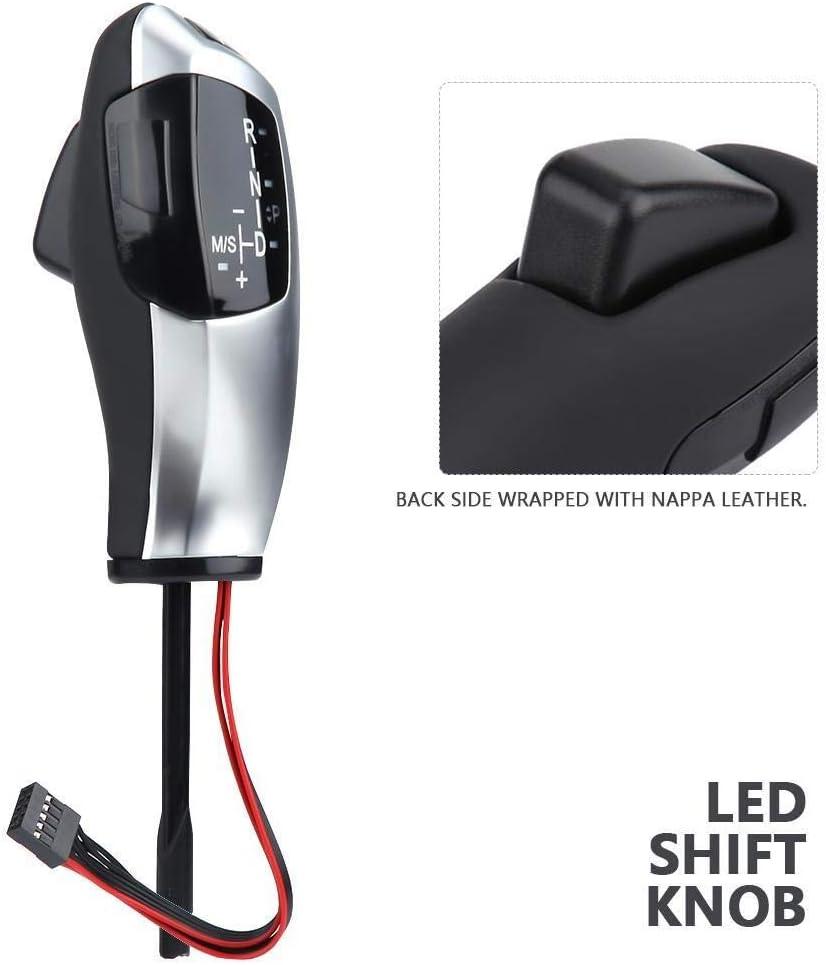 KSTE LHD de Cambios autom/ática LED Shift Palanca de Cambios Palanca for B-M-W E46 E60 E61 E63 E64 Plata