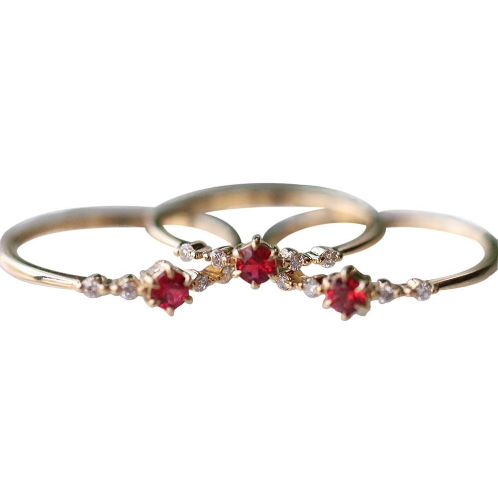 MJartoria Ruby Ring Oval Artificial Crystal Women Engagement Jewelry (6)