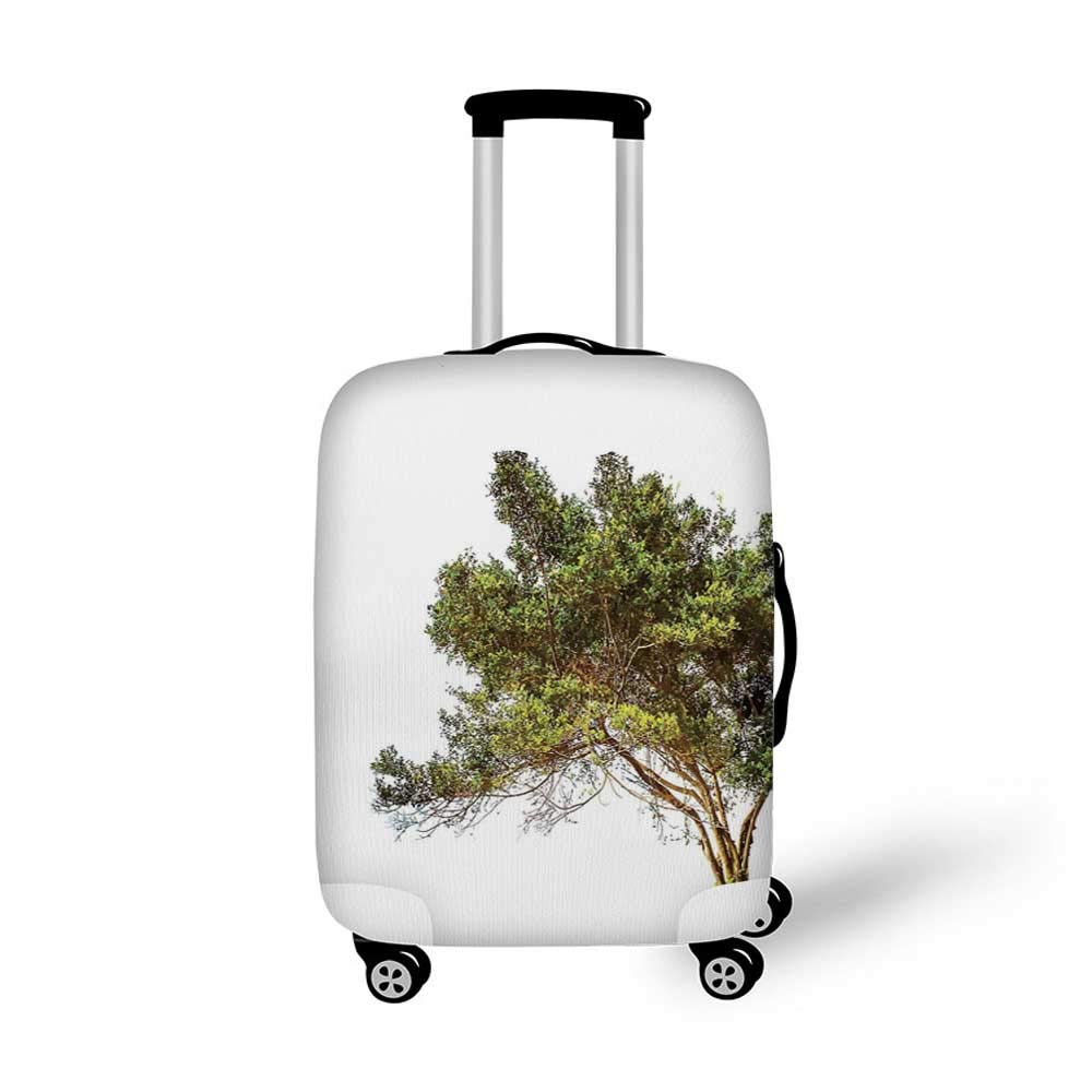 Tree of Life Stylish Luggage Cover,Abstract Tree with Circle Leaves and Round Plants Spiral Dot Illustration Design for Luggage,M 19.6W x 28.9H