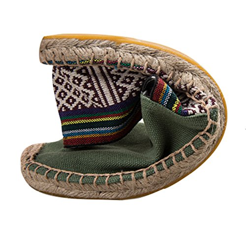 Highdas Unisex Adult Espadrilles Classic Stripe Canvas Flats Slip on Casual Shoes 17# ajtyxQP