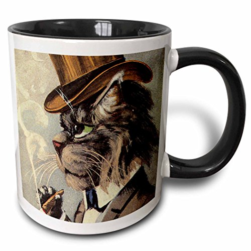 3dRose 172541_4 Top Cat Smoking Two Tone Mug, 11 oz, Black