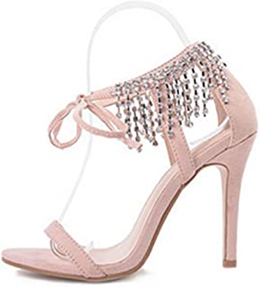 MNII Womens Ladiessexy Straps Rhinestones Talons Hauts Sandales Cheville Cheville Stiletto Party Evening Shoes Taille- Mode d'été