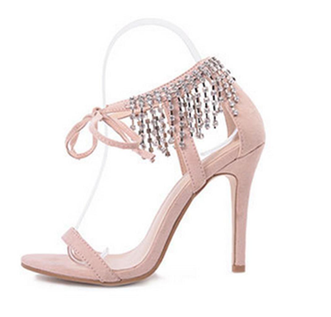 Kitzen Sandalias de Mujer Womens Ladiessexy Straps Rhinestones Tacones Altos Sandalias Ankle Strap Stiletto Party Evening Shoes Tamaño, Apricot, 35 39 EU|Apricot