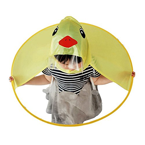 Cute Raincoat, Rain Coat UFO Children Umbrella Hat Foldable Magical Raincoat, Hands Free (YellowDuck)