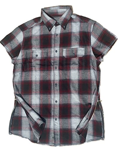 Maroon/Black/Grey Fear of God inspired Short Sleeve Flannel w/ Side Zippers