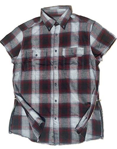 Maroon/Black/Grey Fear of God inspired Short Sleeve Flannel w/ Side - Bieber Shirt Down Button Justin