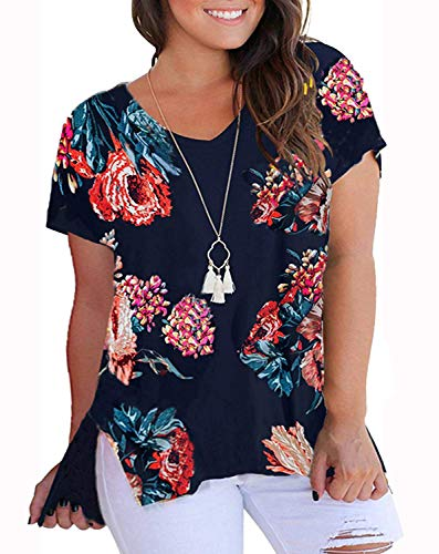 YASAKO Womens Plus Size Tops V Neck Floral Print Casual Striped Shirts with Side Split Loose Tees Navy 5XL