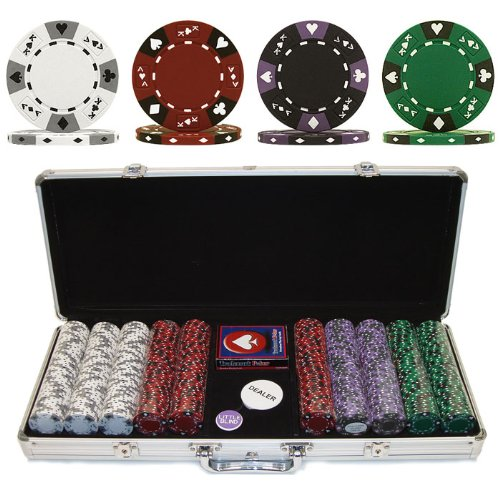 (Trademark Poker 500 14-Gram 3 Color Ace-King Suited Poker Chip Set with Aluminum Case)