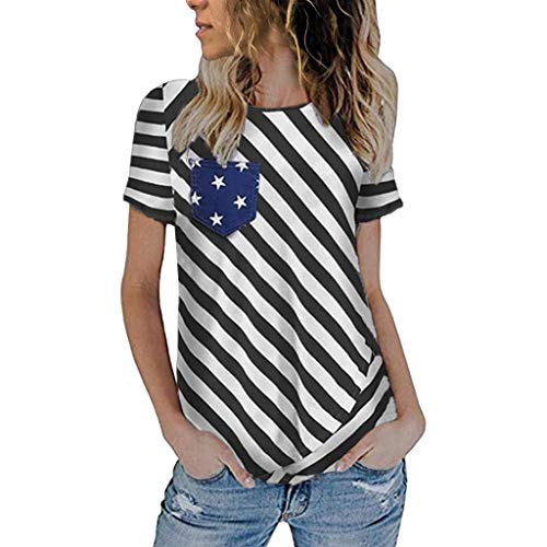 KINGOLDON Women T-Shirt Fashion Independence Day Short Sleeve Casual Tank Tops Blouse Black Blue S-2XL