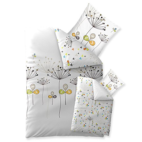 2-teilige Bettwäsche   verschiedene Größen   4-Jahreszeiten 135 x 200 cm   Baumwolle Trend Wendedesign Bia 2 tlg.   bunt gemustert weiß blau orange schwarz
