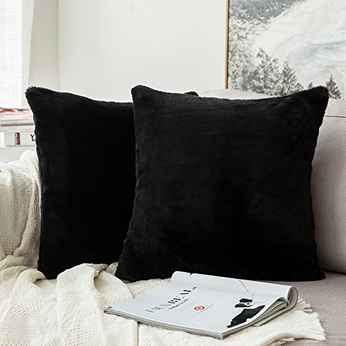 MIULEE Pack of 2 Decorative Black Fur Pillow Cover Luxurious Warm Faux Rabbit Fur Throw Pillow Case Supersoft Cushion Cover for Sofa Bedroom Car 20 x 20 Inch 50 x 50 cm