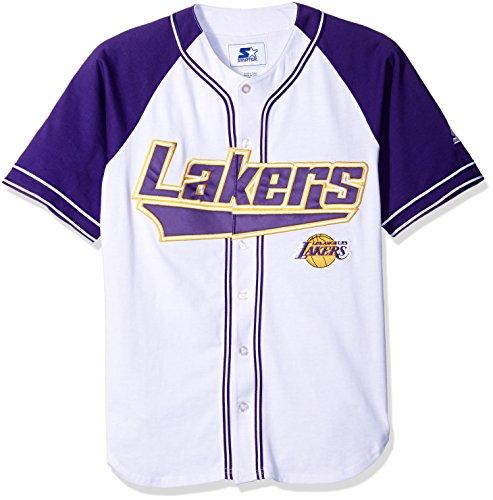 NBA Los Angeles Lakers Baseball Inspired Fashion Jersey, Large, White