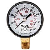 """Winters PEM203LF PEM-LF Series Pressure Gauge, 2"""" Dial size, 1/4"""" NPT, 0/160 psi/kpa, ±3-2-3% accuracy"""
