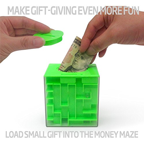 Trekbest Money Maze Puzzle Box – A Fun Unique Way to Give Gifts for Kids and Adults (Green)