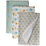 Cribmates 4 Pack Receiving Blanket Fox, Blue/Gold/Grey, Multicolored