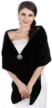 Unicra Womens Wedding Long Faux Fur Wraps and Shawls Wedding Bridal Scarves for Brides and Bridesmaids Black