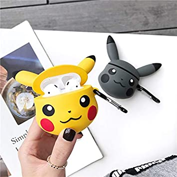 Cute Airpods Case Pikachu,Akxomy Ultra Thick Soft Silicone 3 D Case For Airpods 1 & 2 With Charging Case, Finger Loop Protective Mini Bag Protector Shockproof Creative Gift Girls Boys Kids by Akxomy