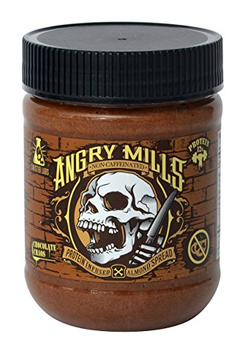 (Angry Mills Whey Protein Isolate-Infused Almond Spread by Sinister Labs - Non-Caffeinated - (12 oz jar) (Chocolate Chaos, 1-Pack) )