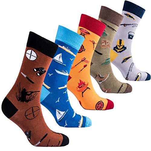 Novelty Box - Socks n Socks-Men 5pk Colorful Cotton Novelty Hunter Fisherman BBQ Sock Gift Box