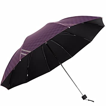 Paraguas Manual sobredimensionado paraviento impermeable Abierto & Sunproof Stick extra grandes sombrillas,Deep Purple