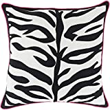 22'' Jet Black and Lace White with Pink Trim Decorative Throw Pillow