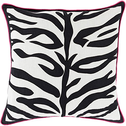 22'' Jet Black and Lace White with Pink Trim Decorative Throw Pillow by Diva At Home