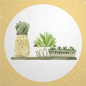 Decorative Tile Stickers Set, Floral Flower Pineapple Ananas Fruit Bromeliaceae Cactus 4 x 4 Inch Peel & Stick Vinyl Tiles Floor Decal, 12 Units Waterproof Vinyl Wall Tiles Sticker for Home Decor