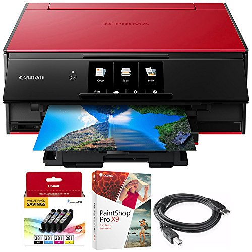 Canon PIXMA 9120 Printer with Corel Paint Shop Pro X9 Digital Download, Ink Tank and High Speed 6-foot USB Printer Cable (Value Pack Bundle, (Download Bundle)