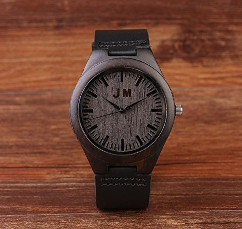 Custom engraved wooden watches for men personalized engraving groomsmen gifts ideas leather for Watches engraved