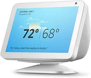 Echo Show 8 (Sandstone) with Echo Show 8 Adjustable Stand (White)