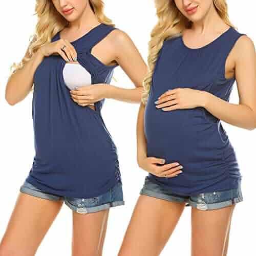 dc2c1ed58a3d5 Ekouaer Women's Maternity Nursing Top Breastfeeding Tank Top Tee Shirt  Double Layer Sleeveless Pregnancy Shirt