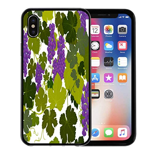 (Semtomn Phone Case for Apple iPhone Xs case,Green Alcohol Grape Vines in Wine Country Airbrush Painting by Artist Carolyn Mcfann Purple Arbor for iPhone X Case,Rubber Border Protective Case,Black)