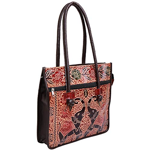 Indian Handmade Leather Ethnic Vintage Tribal Shoulder Bag Purse (Black New)