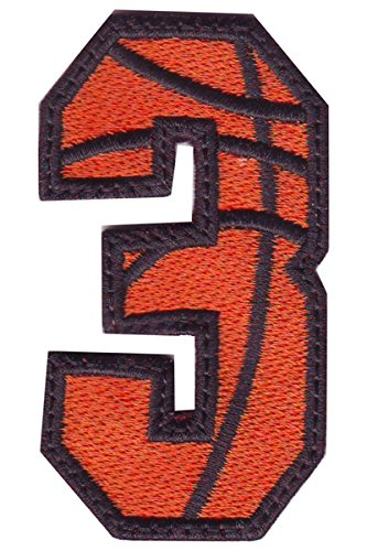 amazon com number 3 basketball embroidered sew on patch