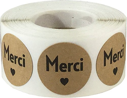 Merci French Thank You Natural Kraft Adhesive Stickers 1 Inch Round Labels 500 Labels Per (French Wafers)