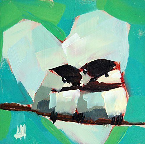 Two Chickadees no. 56 art print by Angela Moulton 6 x 6 inches