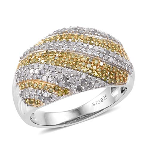Diamond Yellow Diamond Dome Ring 925 Sterling Silver Platinum Plated Gift Jewelry for Women Size 8 Cttw 1.5