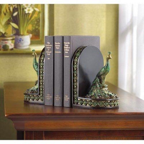 Gifts & Decor Peacock Bookends Office Library Decor Polyresin