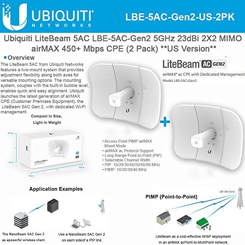 Ubiquiti LiteBeam Gen 2 LBE-5AC-Gen2-US 2X2 MIMO airMAX 5GHz 23dBi 450Mbps-2PACK by Ubiquiti Networks