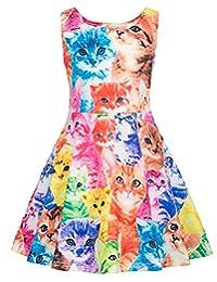 GRACE KARIN Girls Sleeveless Crew Neck Floral A-Line Dress CL487