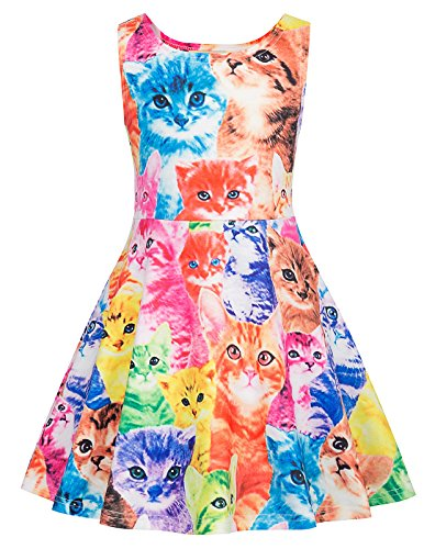 Sleeveless Vintage Cat Printed Casual Dresses Girls 9-10yrs CL487-4