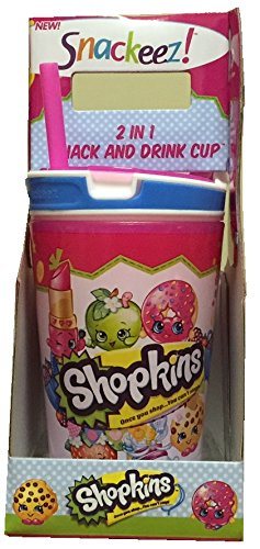 Snackeez Shopkins 2 in 1 Snack and Drink Cup (Pack of One Cup, Colors and Designs Vary) (Blue)