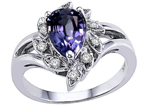 Tommaso Design Pear Shape 8x6 mm Genuine Iolite Ring 14 kt White Gold Size 9 ()