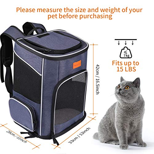 morpilot Dog Backpack Carrier, Foldable Cat Carrier Backpack for Small Cats and Dogs, Ventilated Design Pet Carrier Travel Backpack with Inner Safety Strap, Cat Carrying Bag for Travel Camping Hiking